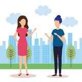 Couple of girls in the landscape vector illustration