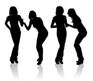 Couple of girls laughing. Silhouettes of couple of girls that laughing stock illustration