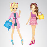 Couple Girls With Shopping Bags Royalty Free Stock Images