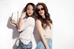 Couple of girls in summer clothes Royalty Free Stock Photo
