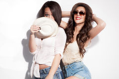 Couple of girls in summer clothes Stock Photo