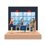 Couple girls in the workplace stock illustration
