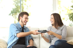Free Couple Giving A Gift For Birthday Stock Image - 66845321