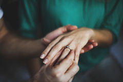 Couple Giving Engagement Ring Concept stock photo