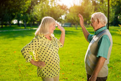 Couple giving five. Royalty Free Stock Images