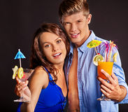 Couple with glass of cocktail. Beauty couple with glass of cocktail stock photo