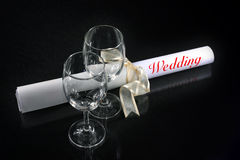 Couple glass with wedding Royalty Free Stock Photo