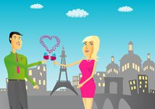 Couple with glass of wine against Paris background Stock Photography