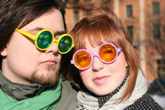 Couple with glasses (2). Girl and boy with glasses Royalty Free Stock Photo