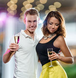 Couple with glasses of champagne Royalty Free Stock Photography