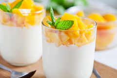 Homemade Yogurt With Poached Peach Stock Photography