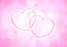 Couple glossy pink heart Stock Photos