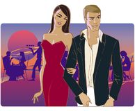 Couple going home from party. Couple going home talking Vector Illustration