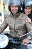 Couple going on a ride. Couple going on a motorcycle ride Royalty Free Stock Photos