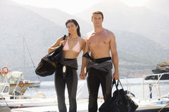 A couple going scuba diving Royalty Free Stock Images