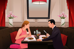 Couple Going to Valentine Dinner. A vector illustration of couple going to valentine dinner in a fancy restaurant Royalty Free Stock Photography