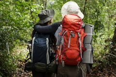 Couple going for a trekking. Together Royalty Free Stock Image