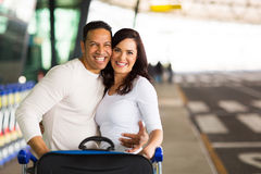 Couple going vacation. Happy couple going on vacation by air Royalty Free Stock Photos