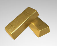 Couple of Gold Bars. One 1 kilo fine gold bar stack slanted on top of another on white background. 3D rendered royalty free illustration