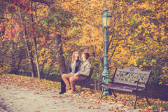 Couple in gold fall Stock Photos