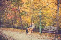 Couple in gold fall Royalty Free Stock Photo