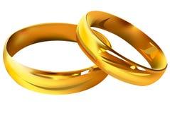 Couple of gold wedding rings. On white background Royalty Free Stock Photo