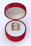 Couple of gold wedding rings  in jewelry white box Stock Photography