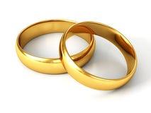 Couple of gold wedding rings on white background. 3d stock illustration