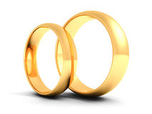 Couple of gold wedding rings on white background Stock Photography
