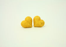 Couple golden hearts on white Royalty Free Stock Photo