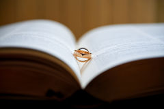 Couple of golden wedding rings Royalty Free Stock Photo