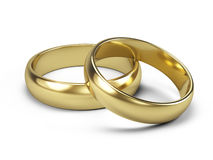 Couple of Golden wedding rings  on white Royalty Free Stock Images