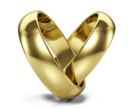Couple of Golden wedding rings  on white Royalty Free Stock Photo