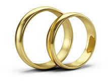 Couple of Golden wedding rings  on white Stock Photo