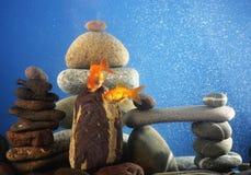 Couple goldfish in aquarium. Over well-arranged zen stone Stock Photo