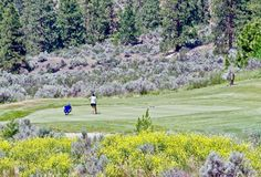 Golfing Couple, Lake Osoyoos, British Columbia, Canada royalty free stock photos