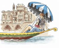 Couple are on gondola. A couple are sitting on a gondola in Venice Stock Images