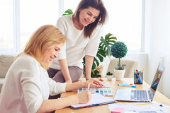 Couple of good-looking women surfing on Internet and taking note Royalty Free Stock Image