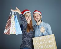 Couple got some present bags Stock Photos