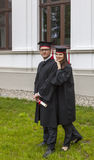 Couple in the Graduation Day Stock Images