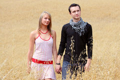 Couple in grain field Royalty Free Stock Photos