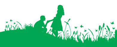 Couple on the grass Stock Photography