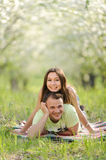 Couple in Grass Royalty Free Stock Photo
