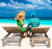 Couple in green on a beach at Maldives Royalty Free Stock Photography