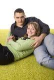 Couple on the green carpet Stock Photo
