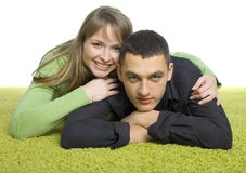 Couple on the green carpet Stock Image