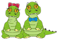 Couple of green crocodiles Royalty Free Stock Photo