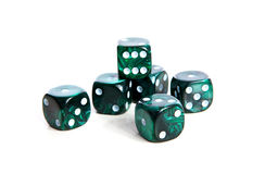 Couple of green dices. Isolated on white background stock photography