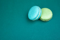 Couple green macaroons Stock Photo