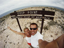 Couple Greeting At Steep Point Stock Images